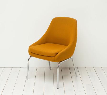 1970s Orange Wool and Chrome Chair