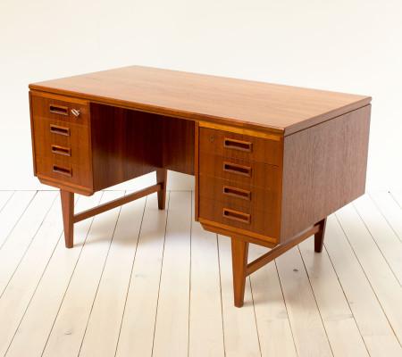 1960s Danish Teak Twin Pedestal Desk