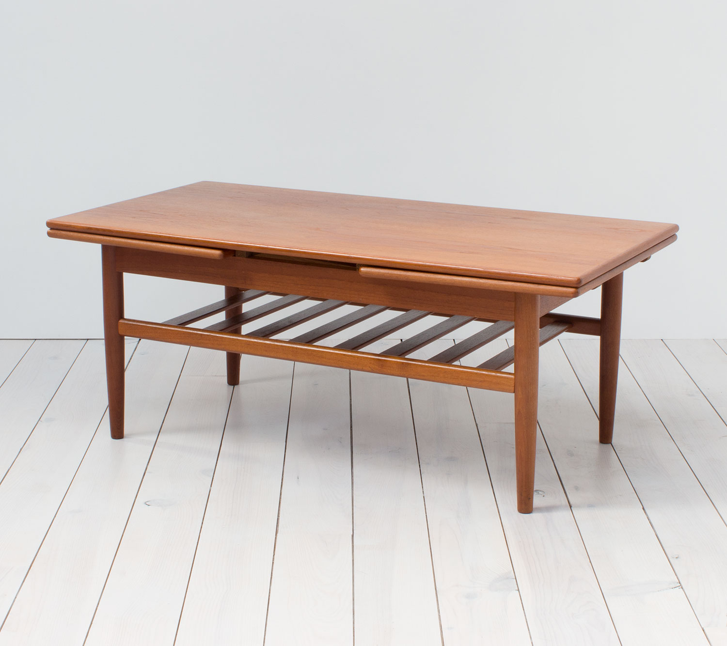 Scandinavian Teak Coffee Table: Danish Teak Metamorphic Coffee Table By Trioh