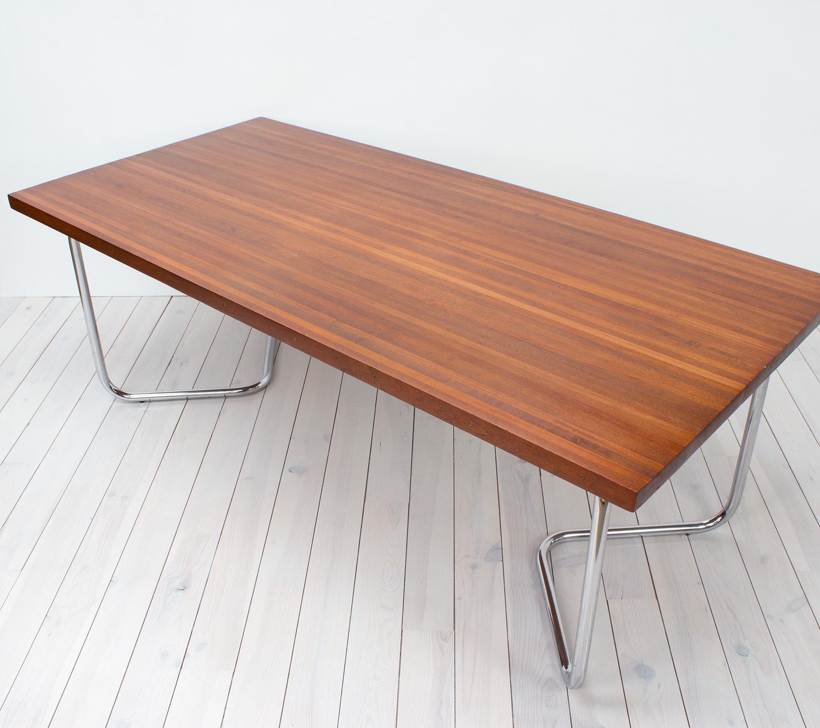 1980s Teak Dining Table With Tubular Chrome Legs