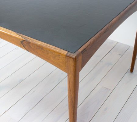Soren Willadsen Rosewood and Black Leather Table