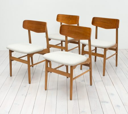 Danish Teak & Beech Set of 4 Chairs