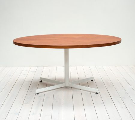 1970s Oval Teak Pedestal Dining Table