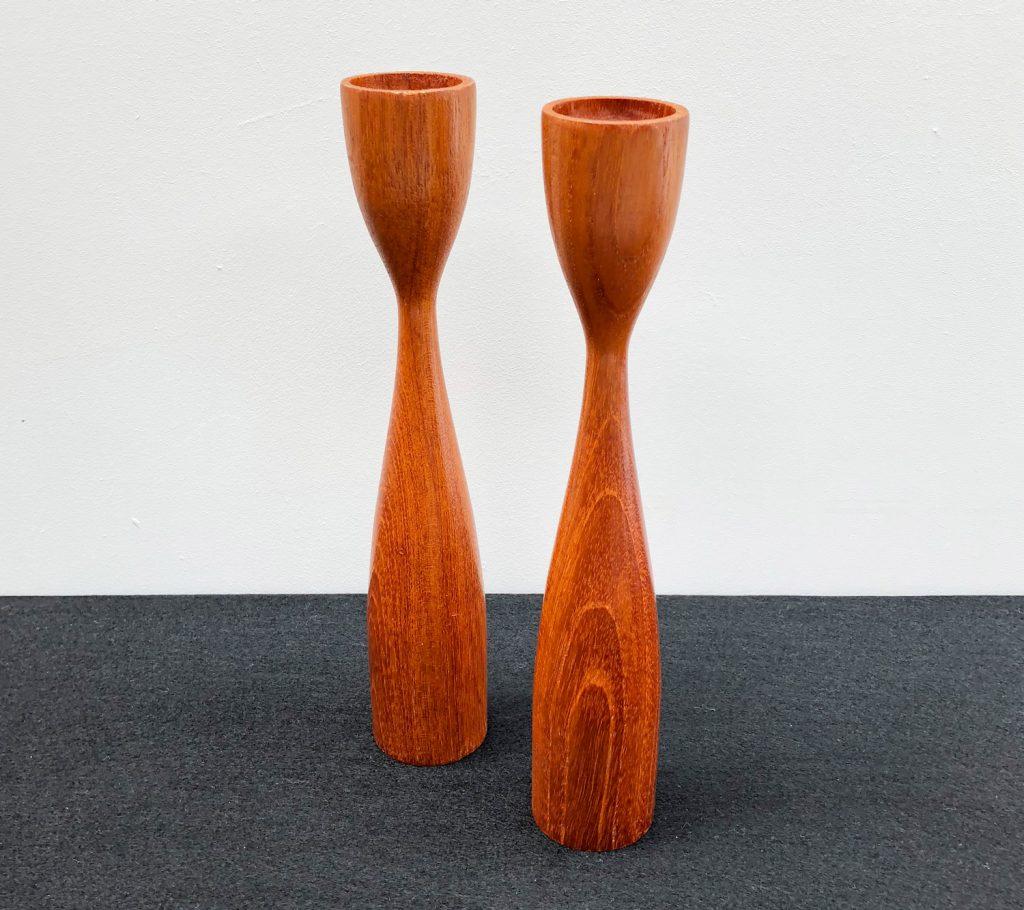 Danish Teak Pair of Candle Holders