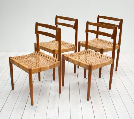Danish Teak & Cane Dining Chairs by Kurt Østervig