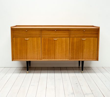 1950s Tiger Maple and Brass Sideboard