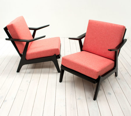 Mid Century Pair of Black and Coral Armchairs