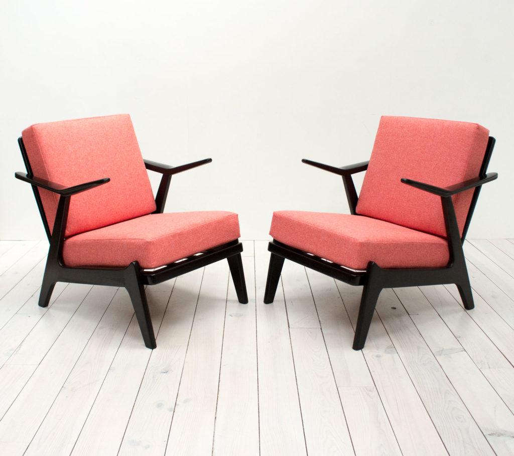1960s Pair of Danish Black Armchairs by Hans Brockman Pedersen