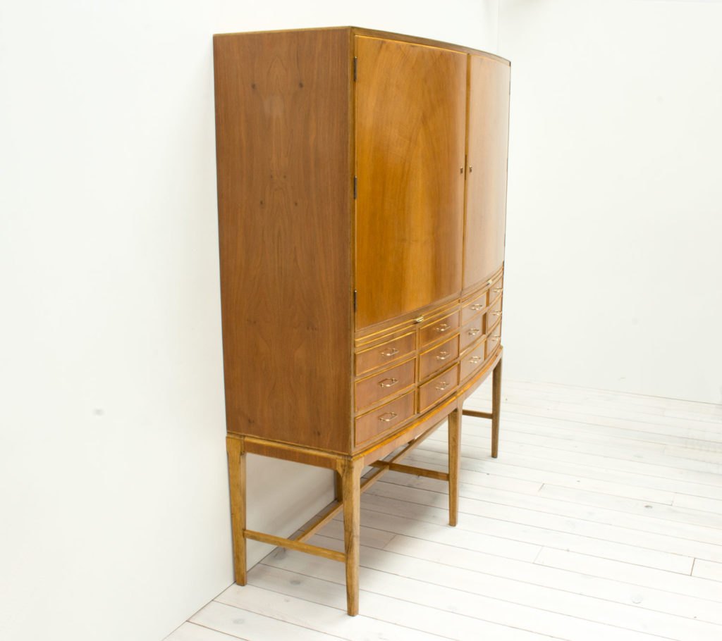 1950s Danish Bow Fronted Walnut and Oak Cabinet