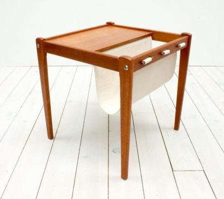 Danish Teak Side Table & Magazine Holder by Furbo