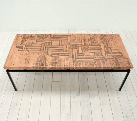 1960s Red Copper Abstract Coffee Table