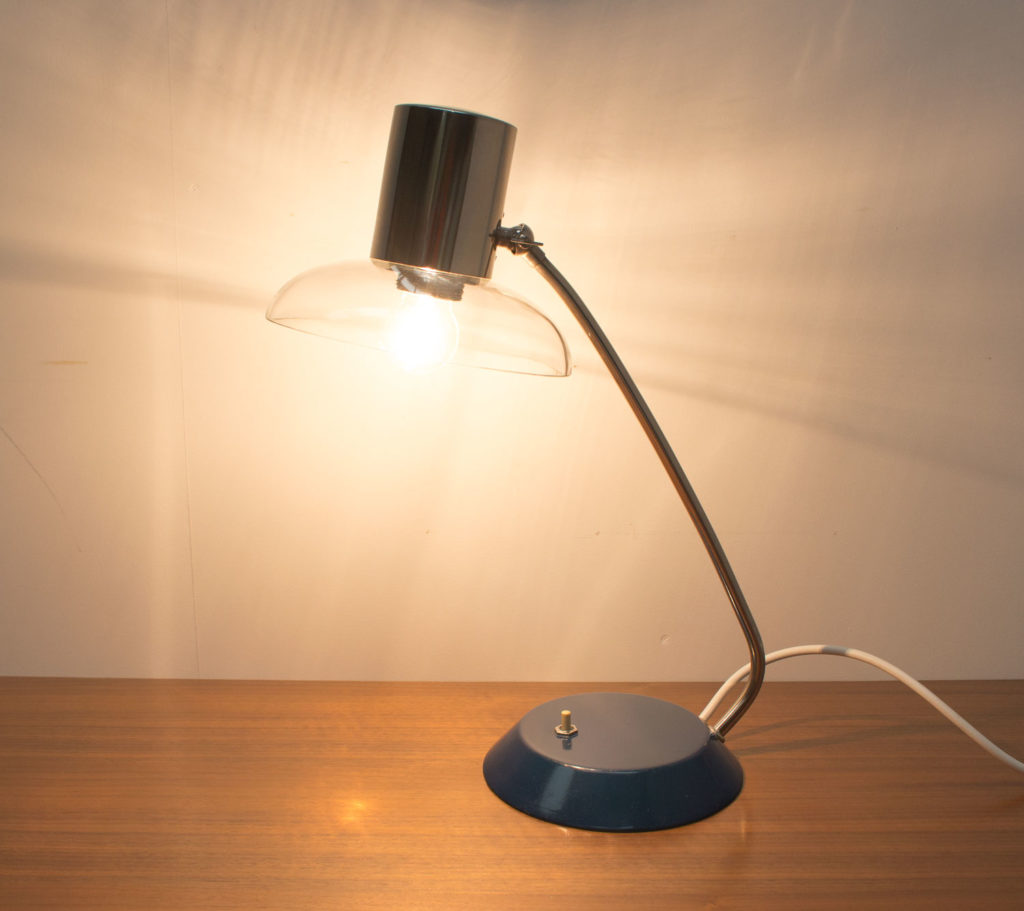 1950s Blue Desk Lamp with Glass Shade
