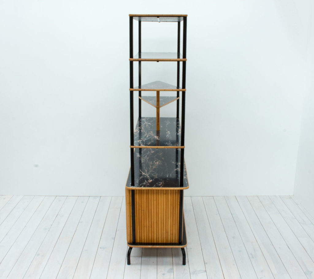 1950s Bamboo Room Divider with Shelves