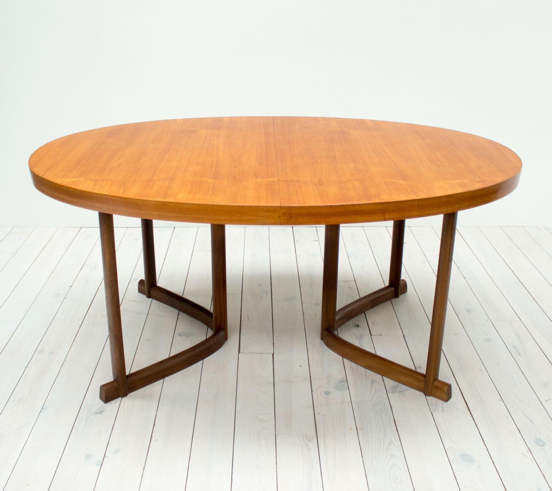 Danish Teak & Afromosia Oval Extending Dining Table