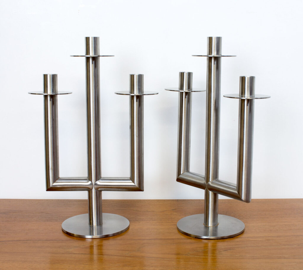 Pair of Mid Century Stainless Steel Candelabra's