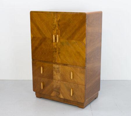 English Art Deco Walnut Tallboy/Cabinet