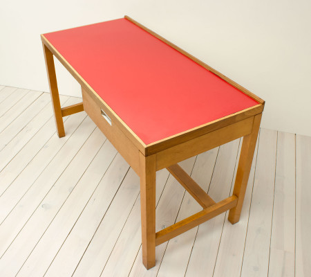 Vintage 1960s Red Formica and Beech Teacher's Desk