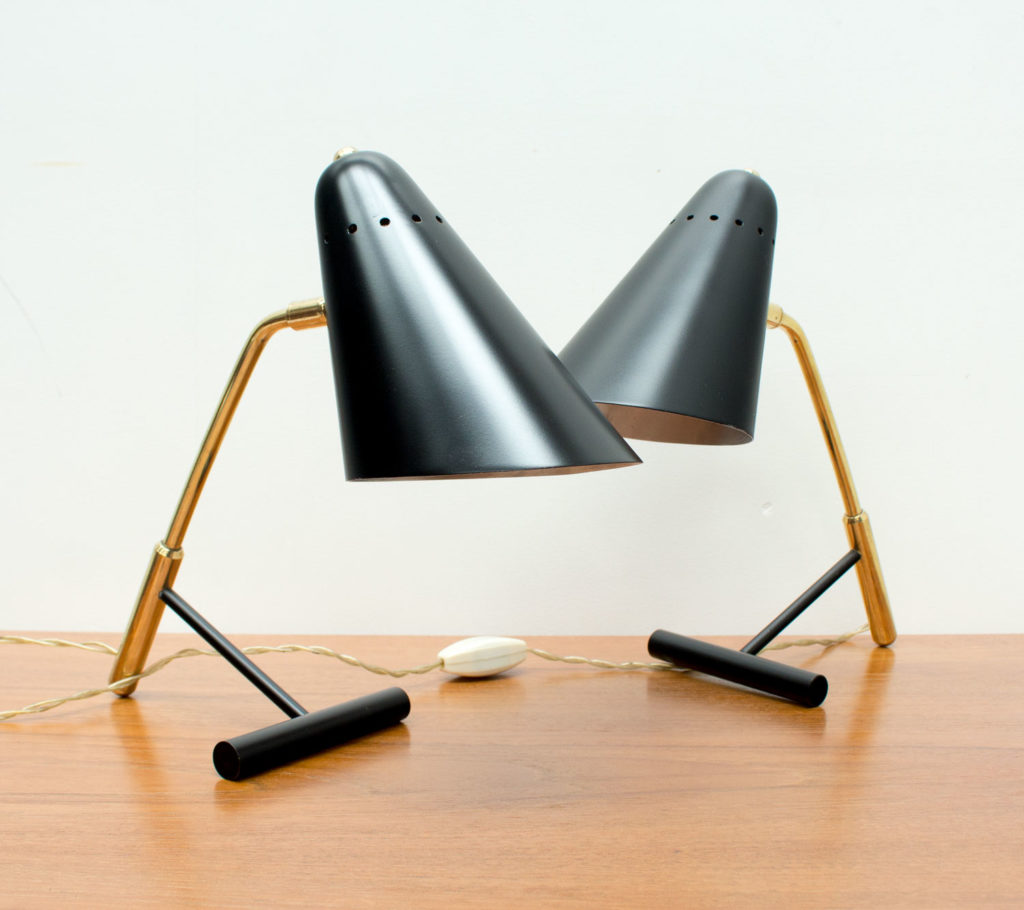 1950s Pair of Italian Black and Brass Desk Lamps