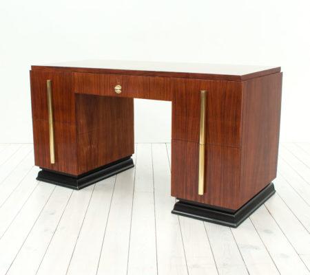 Art Deco Rosewood & Brass Desk, 1930s