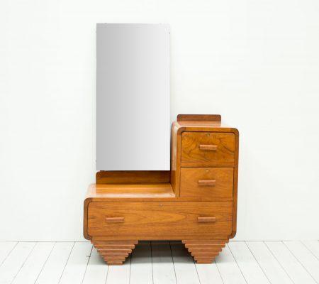 1930s Art Deco Walnut Dressing Table/Hall Stand