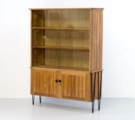 1950s Walnut Kitchen Dresser/Display Cabinet