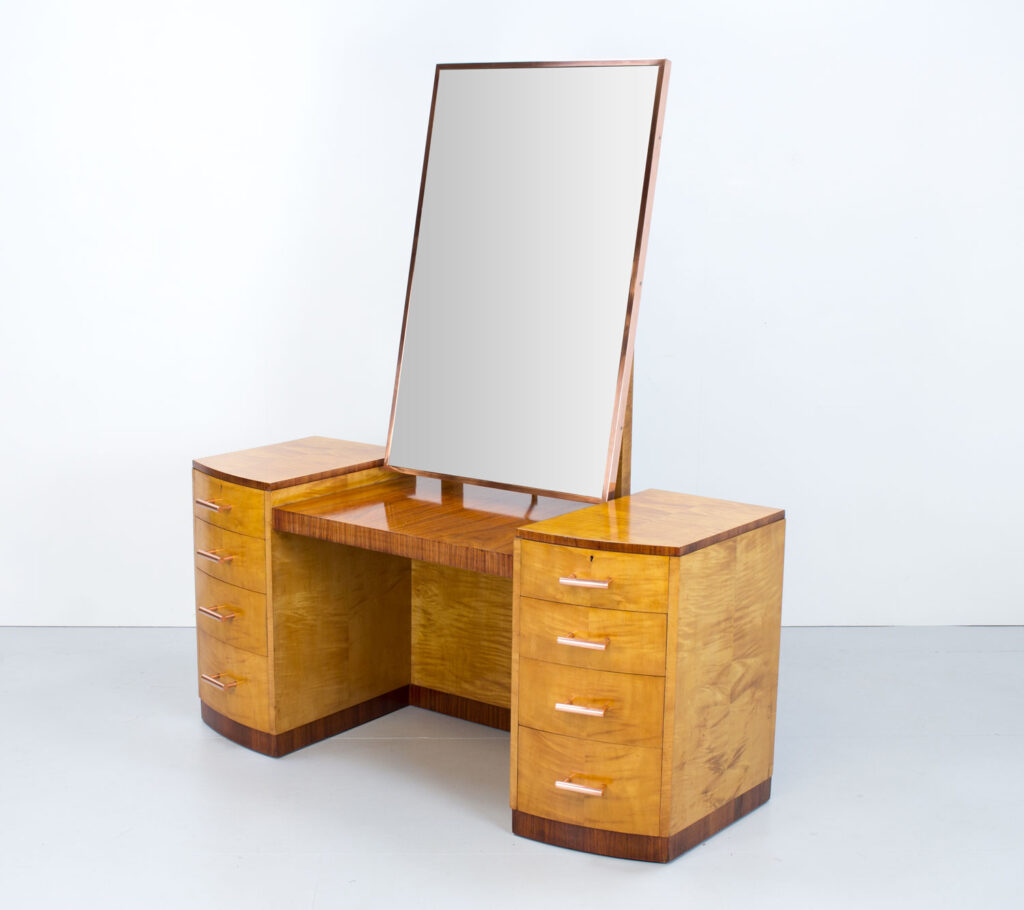 Art Deco Sycamore, Rosewood & Copper Dressing Table
