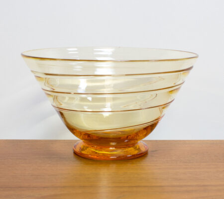 Amber Ribbon Trail Glass Bowl by Whitefriars