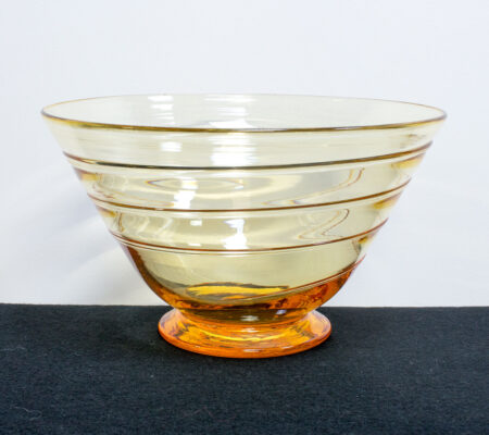 Amber Ribbon Trail Glass Bowl by Whitefriars
