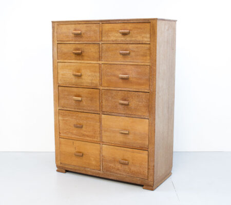 Art Deco Heals Style Limed Oak Tallboy