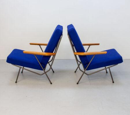 1950s Pair of Metal & Cherry Armchairs