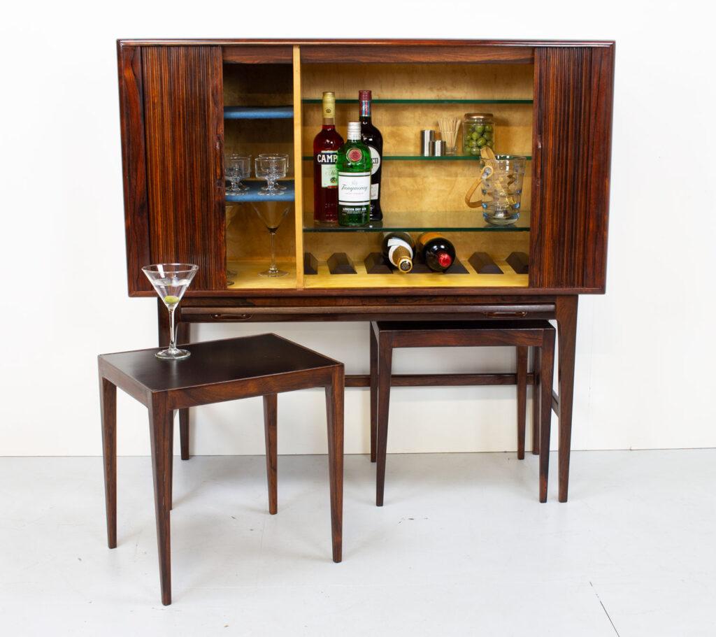 Kurt Østervig Rosewood Tambour Drinks Cabinet/Dry Bar by KP Møbler